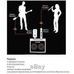 2.4GHz Wireless Transmitter Receiver System for Electric Guitar Bass Parts