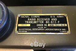 2 Rare, Vtg. WWII Signal Corps US Army BC-611-F Radio Transmitter Receiver NICE