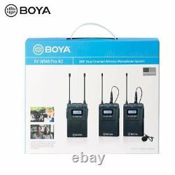 BOYA BY-WM8 PRO K2 UHF Dual Wireless Lavalier Microphone Transmitters + Receiver