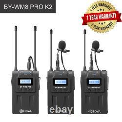 BOYA BY-WM8 PRO K2 UHF Wireless Microphone System 2 Lapel Transmitter 1 Receiver