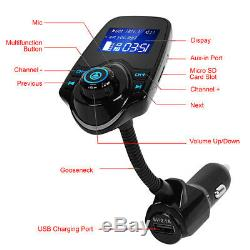 Bluetooth Wireless Car AUX Stereo Audio Receiver Radio FM Adapter USB Charger US