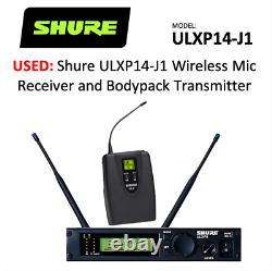Dual Shure ULXP14-J1 wireless mic receiver & transmitter 554-590 MHz. Used