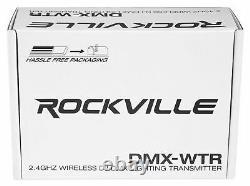 Rockville DMX-WTR Rechargeable Wireless DJ DMX Lighting Transmitter+4 Receivers