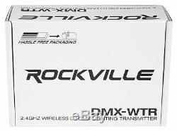 Rockville DMX-WTR Wireless DJ DMX Lighting Transmitter+8 Rechargeable Receivers