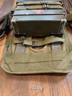 Rt-505 Prc-25 Military Radio Receiver Transmitter Handset Harness Antennas Bag