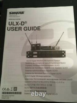 Shure ULXD4D Dual Channel Receiver With 2x ULXD1 Belt pack Transmitters. FreqG50