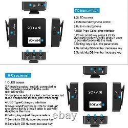 Sokani Tiny Twin 2X Transmitters & Receiver Wireless Lavalier Microphone System