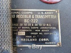 Vintage U. S. Army Signal Corps BC-222 & BC-322 Receiver & Transmitter with Handset