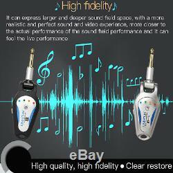 WIRELESS ELECTRIC GUITAR LEAD 6.35mm JACK PLUG 2.4G AUDIO TRANSMITTER & RECEIVER