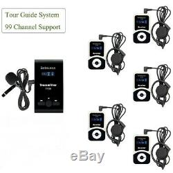 Wireless Tour Guide System Transmitter+5Receiver for Meeting/Church Translation