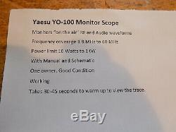 Yaesu YO-100 Ham Radio Station Monitor Scope For Transmitter and Receiver
